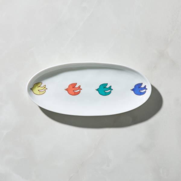 日本晴九谷燒 - 飛鳥橢圓中盤 ★ 全部日本原裝精緻禮盒,送禮適宜