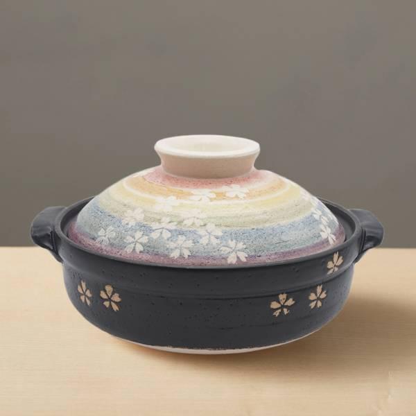 日本萬古燒-繪染土鍋8號-櫻之華(2.1L) 日本,原裝進口,陶鍋,土鍋,主婦必備,直火,遠紅外線,保留原味,多用,蓄熱,節能