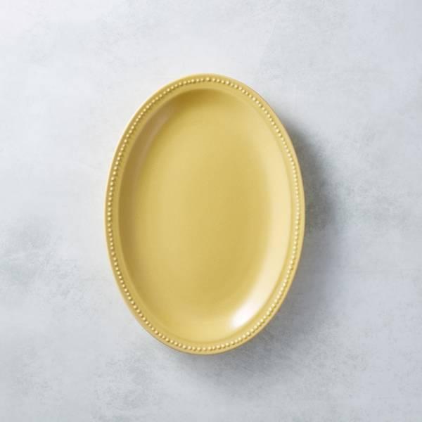 日本KOYO美濃燒 - 珍珠邊橢圓淺盤 - 赭黃 歐風,餐盤,陶盤,日本製,食器,手工,檢驗合格