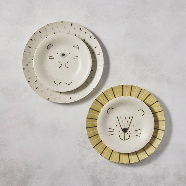 日本AWASAKA美濃燒- 獅子與刺蝟餐盤 - 禮盒組(4件式) 日本,盤,餐具組