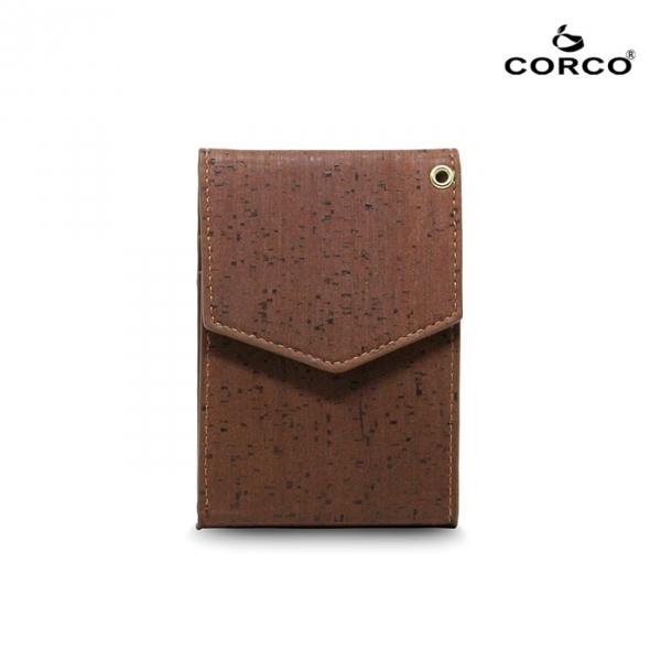CORCO 簡約掛頸軟木皮夾 - 酷深棕(含掛繩) 軟木,韓國,環保