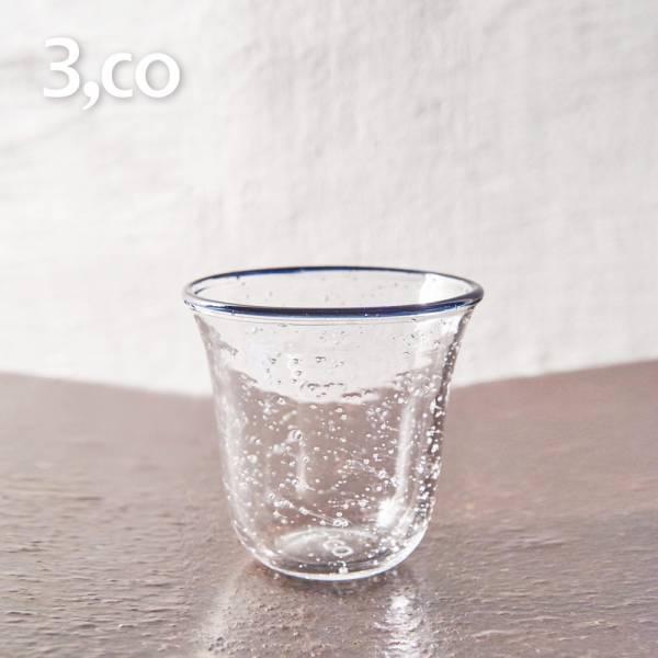 【3,co】手工氣泡感玻璃杯(小) - 藍邊 茶杯,酒杯,玻璃杯,杯,擺飾,光雕,玻璃,藝術,品味,花器,當代,國際,台灣之光,台灣,原創,設計,簡約,生活美學,空間,東方意象,驚豔,精品,禮物,禮品,送禮