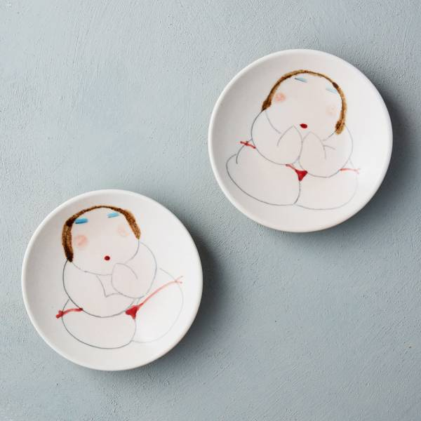 吳仲宗|胖太太系列 - 小碟 - 好運成雙 (雙件組)  陶藝;醬碟;小菜碟;手繪;三芝藝術家