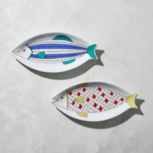 日本晴九谷燒 - 魚大盤(2件組) ★ 全部日本原裝精緻禮盒,送禮適宜