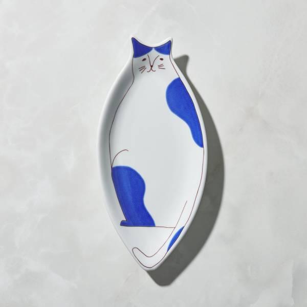 日本晴九谷燒 - 貓大盤 - 藍乳牛 ★ 全部日本原裝精緻禮盒,送禮適宜