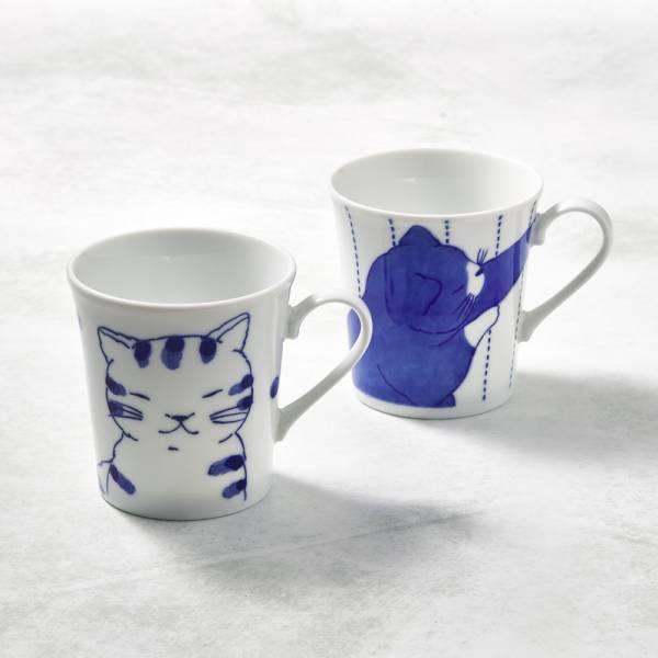 日本澤藍美濃燒 - 仲良貓友馬克對杯組(2件式) 陶杯,日本製,食器,手工,檢驗合格,貓