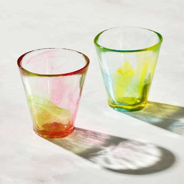 日本富硝子 - 手作夏日六角冰晶杯 - 對杯組 (2件式) - 170ml 日本,玻璃,玻璃杯,飲料杯
