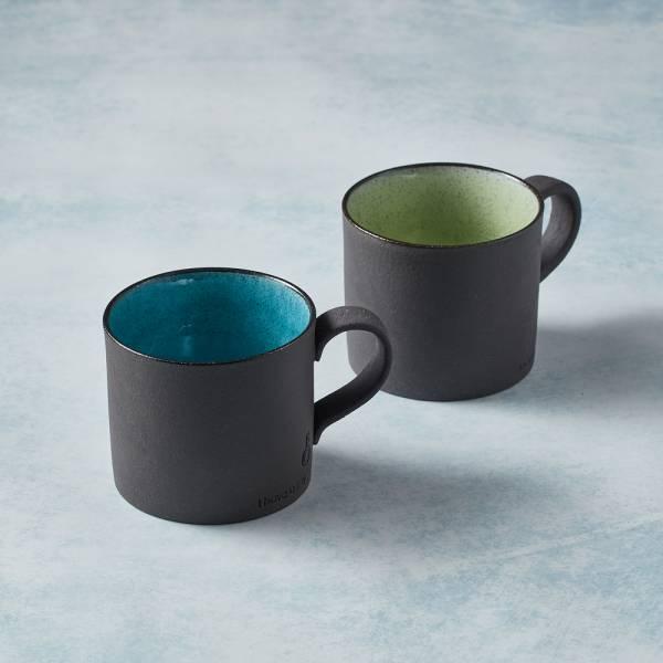 日本KOYO美濃燒 - 黑陶釉彩馬克杯 - 對杯組(2件式) 陶杯,釉下彩,防水,日本製,食器,手工,檢驗合格