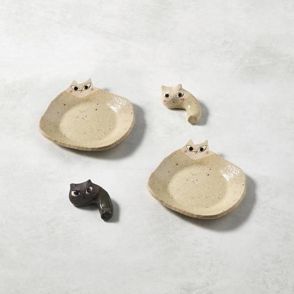 日本KOYO美濃燒- 陶製手作筷架 - 貓貓樂園四件組 ★ 日本進口品質保證,檢驗合格餐具