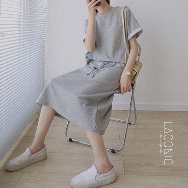 漂流,行獨影。家居生活提案兩件式休閒服(衣+裙)【129CD】