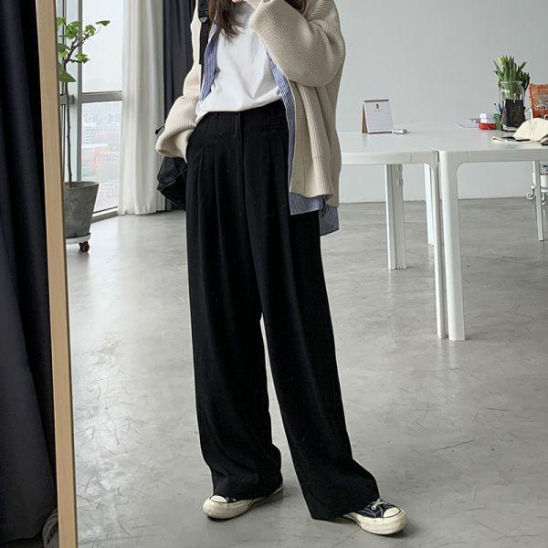 歡,嘉年華 。慵懶系寬版西裝褲【003BB】