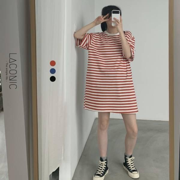 唏,滴滴答。休閒款條紋連身裙【919CF】