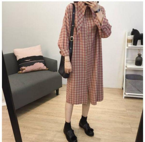 歡,嘉年華 。鄉村復古小領結格紋洋裝【941CE】