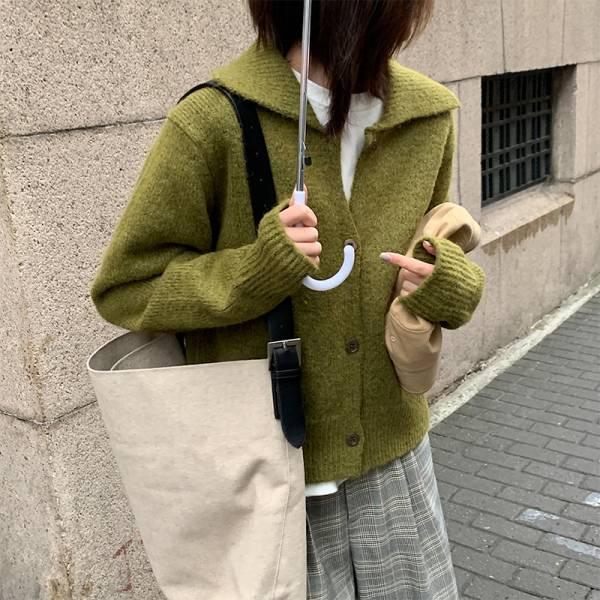 歡,嘉年華 。翻領羊毛料針織外套【003AC】