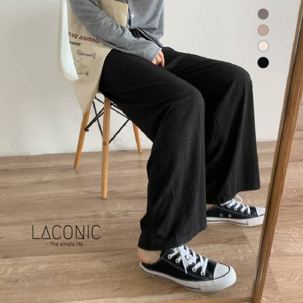 暖暖,曦光 。Leisure Style暗紋休閒寬褲【012BG】