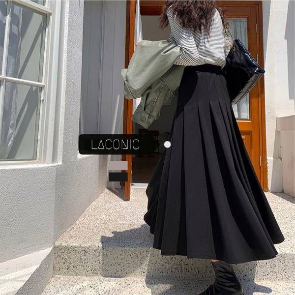 巷弄,穿梭遊。唯美傘擺半身百褶裙【037BG】