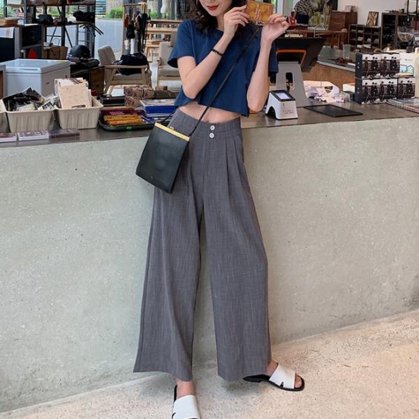 漾,水光鏡。美型比例高腰西裝寬褲【925BD】