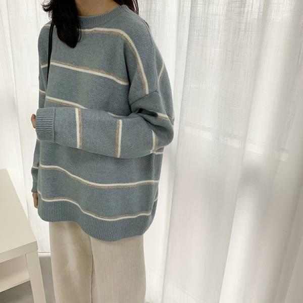 光燭之夢。小簡約條紋針織毛衣【850AT】