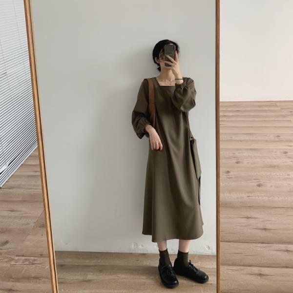 祭,秋榖收 。方領側綁帶絲滑雪紡洋裝【940CB】