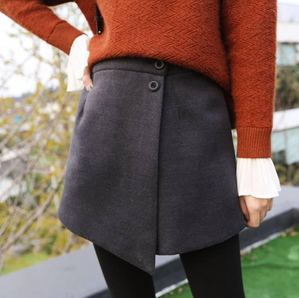 一片式鈕扣厚實短褲裙【7114AH】#1123