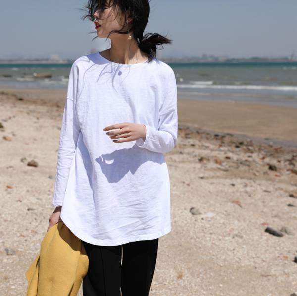 極簡約竹節棉薄長袖上衣【812AE】#0322