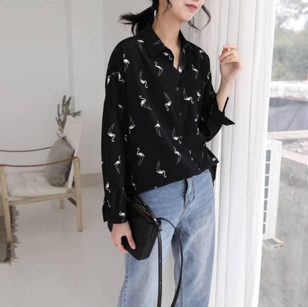 花季。紅鶴雪紡長袖襯衫【813AK】#0329