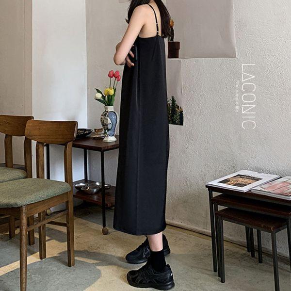 漂流,行獨影。低奢氣質細肩帶小黑裙【129CA】