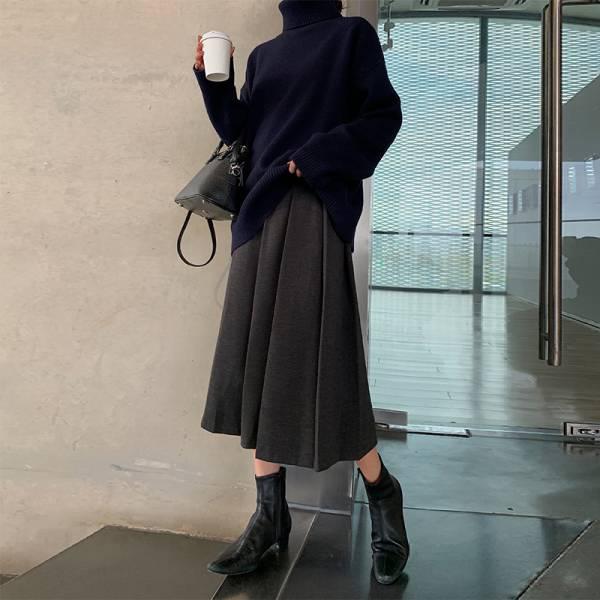 寒,初雪降 。不規則百摺半身裙【949BA】
