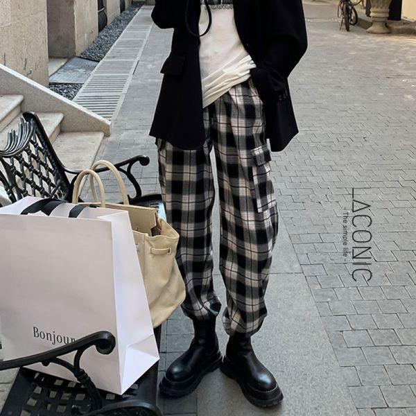 雪化,春微暖。街頭女孩愛跳舞格紋休閒褲【104BD】