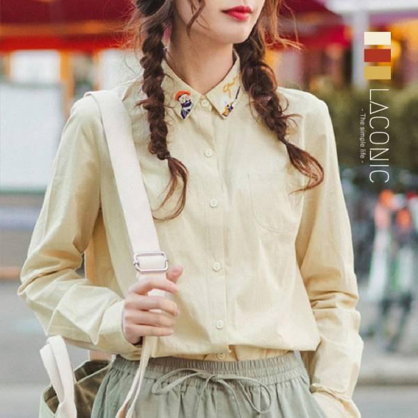 暖暖,曦光 。童趣刺繡復古襯衫【012SB】