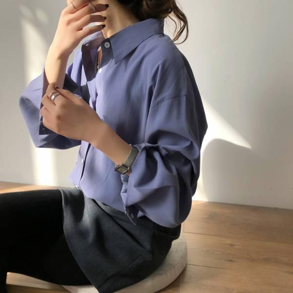 憶,時光夢 。法式唯美寬寬袖滑布襯衫【002AG】