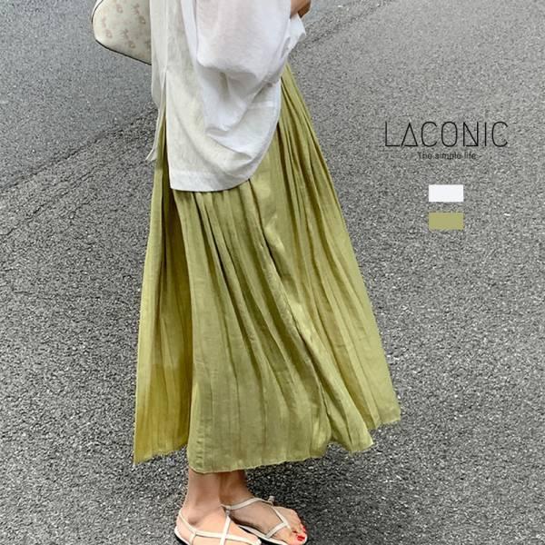 偷,閒散懶日。優雅乾燥花緞面百摺裙【028BH】