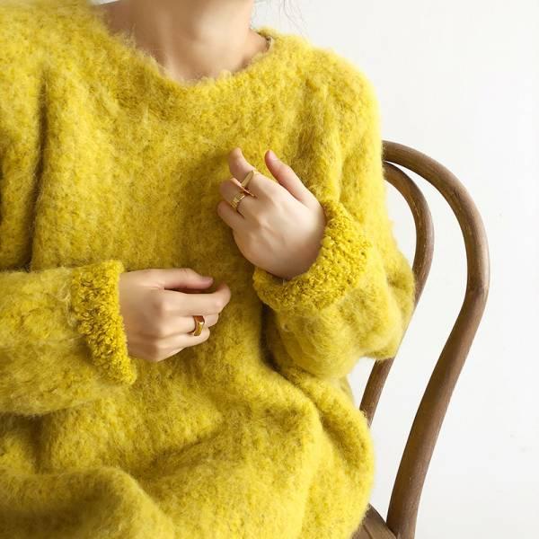 寒,初雪降 。被窩大毛怪絲狀羊毛毛衣【949AK】
