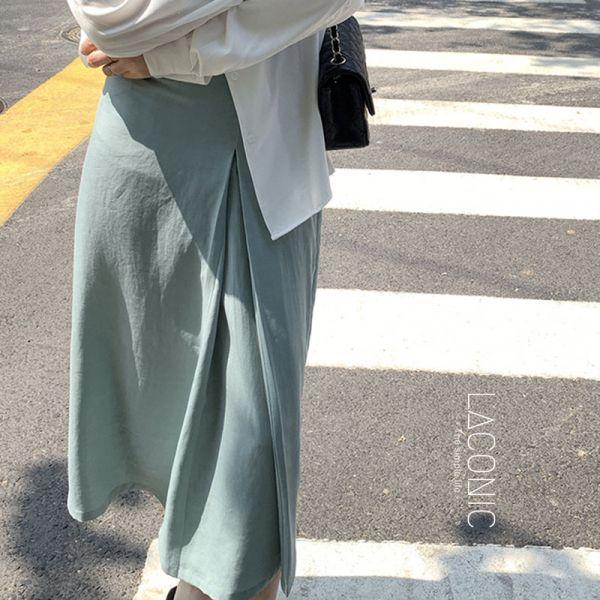 晦黯,微光爍。女伶開衩亞麻半身裙【123BB】