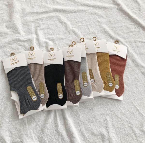 彩,晴光虹。灰雜感船型針織襪【924FA】