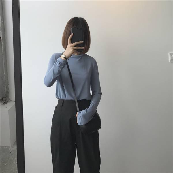 晴空雨。基礎款素面純棉圓領上衣【834AK】