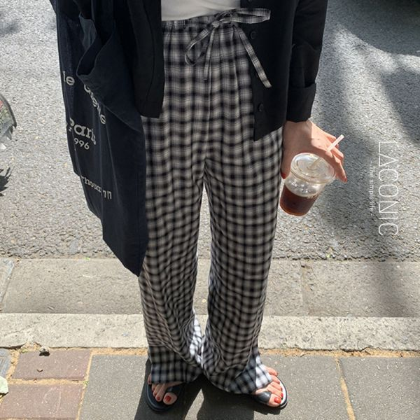 晦黯,微光爍。經典小格紋繫帶休閒長褲【123BH】