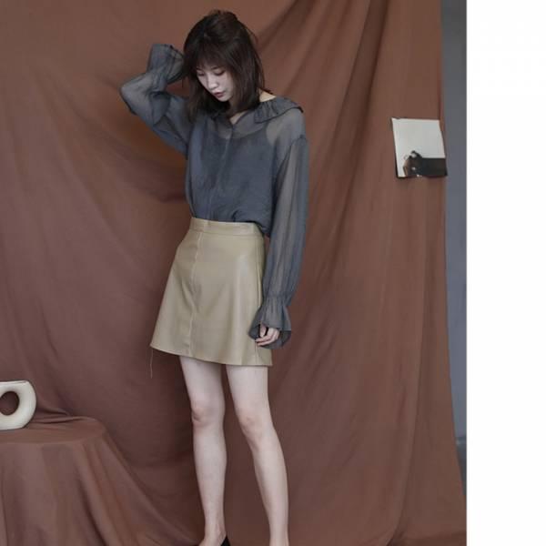 峭壁浪花。個性高腰包臀皮短裙【835BC】