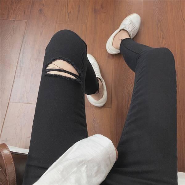 潔,九月雪。激瘦破損小黑褲【936BB】