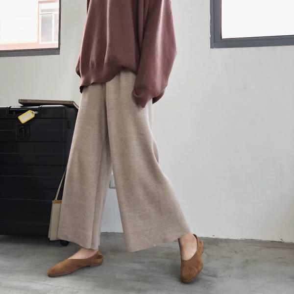 歡,嘉年華 。零束縛保暖針織寬褲裙【941BE】