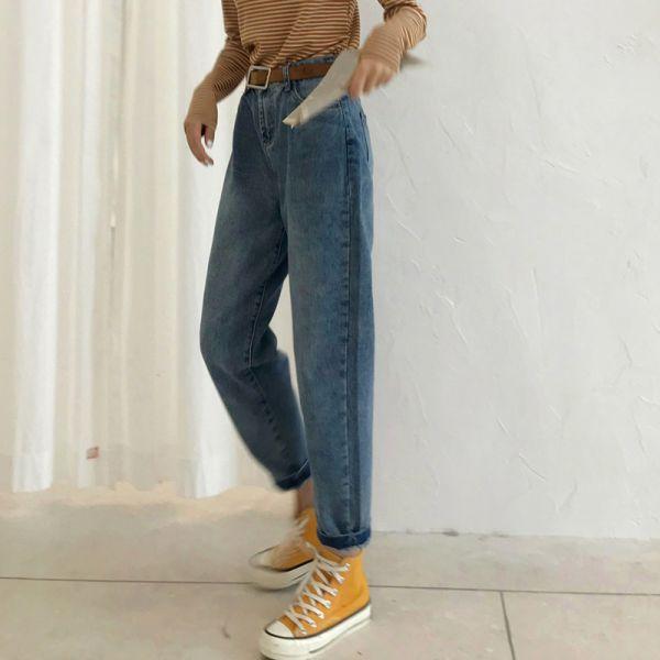 憶,復古情 。復古舊色流線哈倫牛仔褲【947BA】