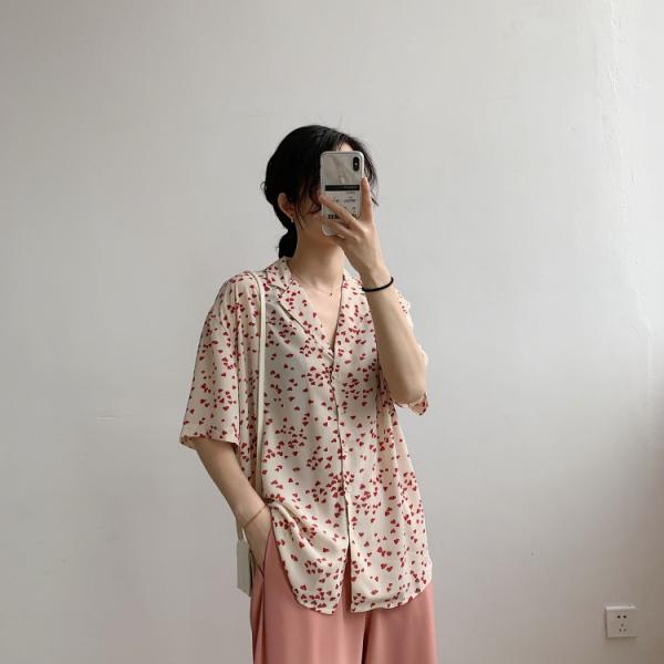 彩,晴光虹。心戀花瓣日系翻領襯衫【924AI】