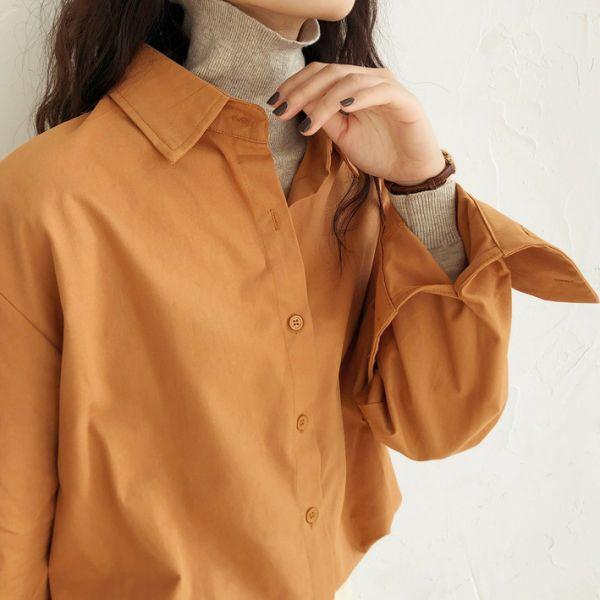 謐,月光靜 。極簡素面長袖襯衫【952AJ】