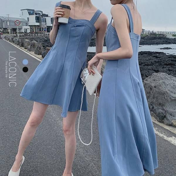 唏,滴滴答。清新海灘無袖短洋裝【919CD】