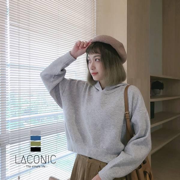 綿綿雲朵海。日常素材連帽針織上衣【042AB】