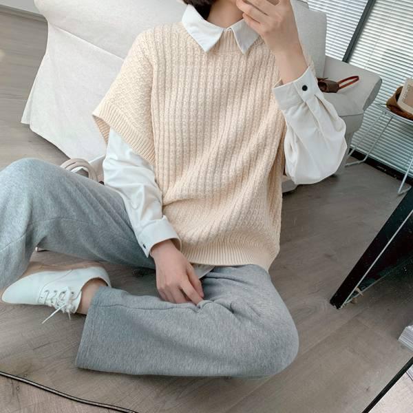 璨,煙花散 。日系小織格純色毛衣【001AF】