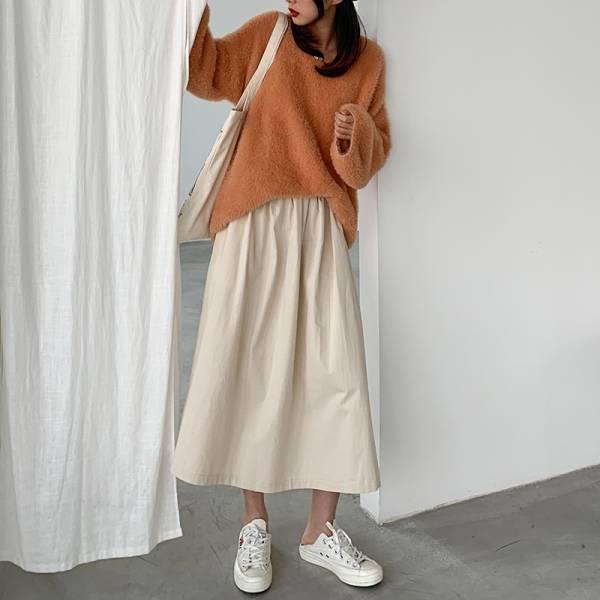 秋楓艷紅。簡單傘狀高腰大圓裙【846BD】