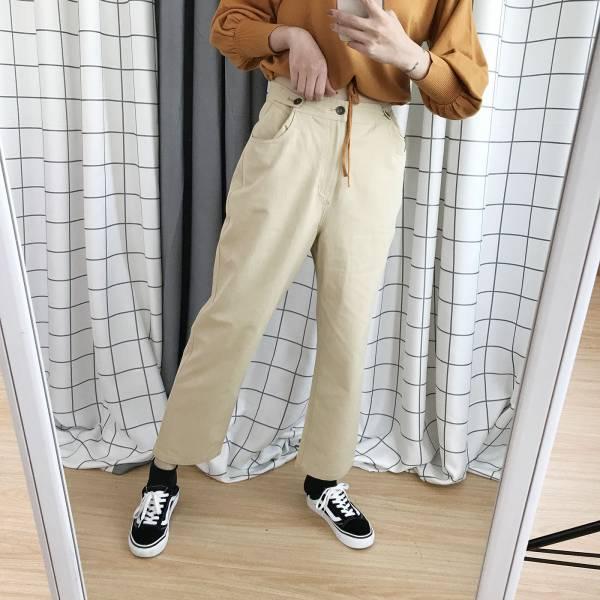 暖,燈海光 。清新小文青純棉直筒休閒褲【006SD】
