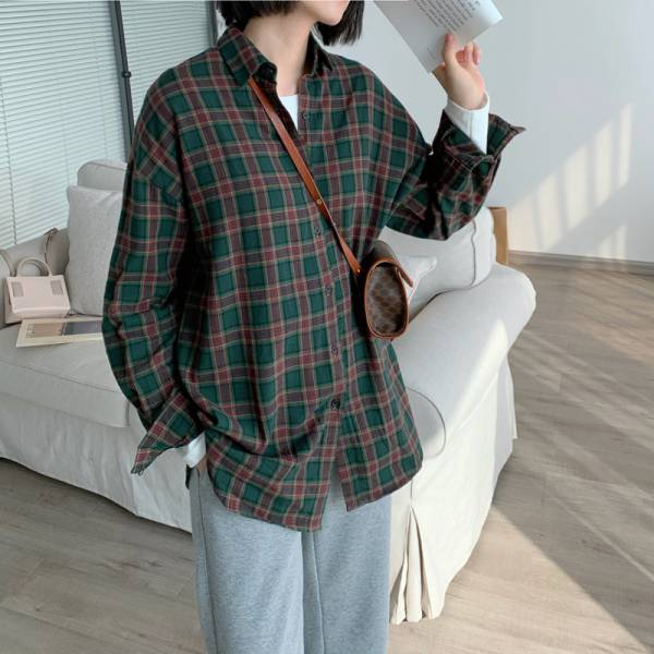 光海,燈籠盞。率性復古格子長袖襯衫【004AE】
