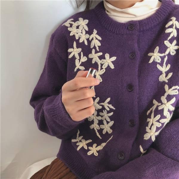 憶,時光夢 。小女孩的勾勒小花針織外套【002AL】